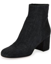 Gianvito Rossi - Margaux Denim Block-heel Ankle Boot - Lyst