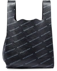 Balenciaga - Men's Allover Logo-print Leather Grocery Tote Bag - Lyst