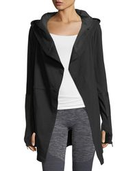 BLANC NOIR - Traveller Long Jacket W/leather Trim - Lyst