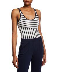 ATM Striped Scoop-neck Sleeveless Micromodal Bodysuit - Multicolor