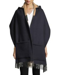 Burberry Helene Wool-cashmere Hooded Stole - Blue