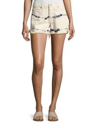 The Great The Cut Off Slouchy Tie-dye Denim Shorts - White