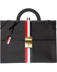 Thom Browne - Trompe L'oeil Slim Leather Attache Case - Lyst