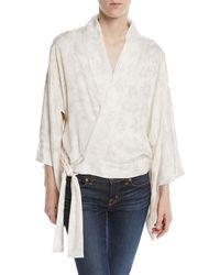 Chufy Wrap-front Floral-jacquard Kimono Jacket W/ Embroidery - White