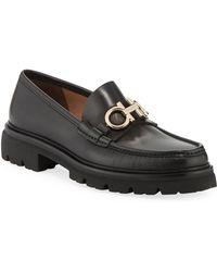 Ferragamo - Men's Bleecker Leather Lug-sole Loafers With Reversible Bit - Lyst