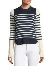 Veronica Beard - Amos Striped Merino Button Sweater - Lyst