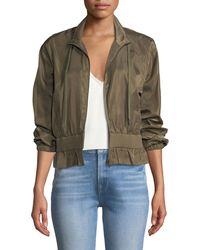 FRAME - Cropped Zip-front Cinched Jacket - Lyst