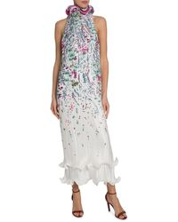 Givenchy Floral Pleated Dress - Blue