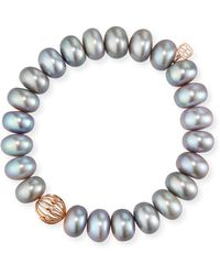Sydney Evan | 10mm Gray Pearl Bracelet W/ 14k Diamond Wire Ball Charm | Lyst