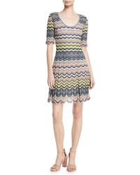 M Missoni - Wave Ripple Knit Half-sleeve Dress - Lyst