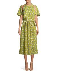 Robert Rodriguez - Dania Floral-print Cutout Belted Midi Dress - Lyst