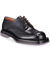 Bottega Veneta Men's Lennon Platform Leather Derby Shoes - Black