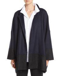 Eskandar - Mandarin-collar Three-button Wool-blend Jacket W/ Pouch Pockets - Lyst