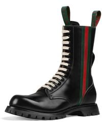 c1cdf639b299 Lyst - Gucci Web Tab Leather Boot in Black for Men