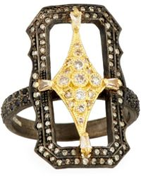 Armenta - Old World Crivelli Scalloped Rectangle Ring With Diamonds - Lyst