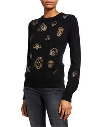 Libertine Be True To Your Skull Sequined Crewneck Cashmere Sweater - Black