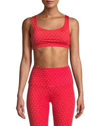 Onzie Mudra Heart-print Strappy Sports Bra - Red