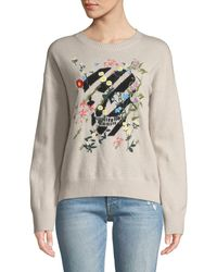 360sweater - Aji Floral-embroidered Skull Crewneck Cashmere Pullover Jumper - Lyst