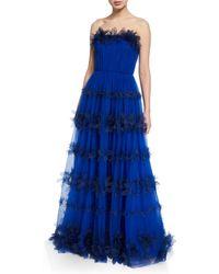 d2efd652 Marchesa notte Strapless Ball Gown W/ 3d Petals in Blue - Lyst