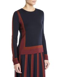 Loro Piana - Graphic Cashmere-silk Crewneck Long-sleeve Sweater - Lyst