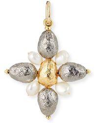 Grazia And Marica Vozza - Black Silver Cross Charm With Pearls - Lyst