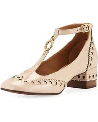 Chloé Perry Patent 45mm T-strap Pumps - Natural