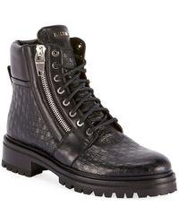 Balmain Men's Monogrammed Leather Combat Boots - Black