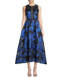 Marchesa notte - Fil Coupe & Lace Cutout Dress - Lyst