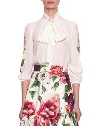 Dolce & Gabbana - Tie-neck 3/4 Sleeve Crepe De Chine Blouse W/ Floral Appliqué - Lyst