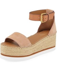 20e690602f2 See By Chloé - Suede Ankle-strap Flatform Espadrilles - Lyst