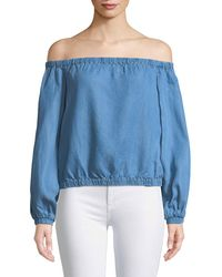 7 For All Mankind - Off-the-shoulder Blouson-sleeve Chambray Top - Lyst