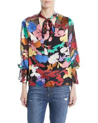 ed5c476df2d74 Alice + Olivia - Mora Tie-neck Floral Blouson-sleeve Blouse - Lyst