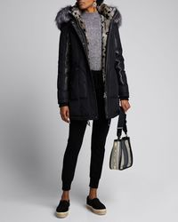 Nicole Benisti Chelsea Intarsia Fur-lined Coat - Black