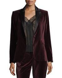 Alice + Olivia - Macey Notched-collar Tailored Velvet Blazer - Lyst