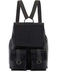 Brunello Cucinelli Shiny Leather Flap Backpack - Black