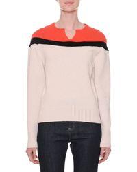 Tomas Maier - Split-neckline Colorblock Cashmere Sweater - Lyst