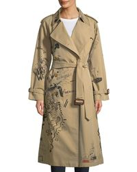 Burberry | Graffiti Printed Cotton Trench Coat | Lyst