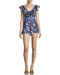 Alexis - Charlee Ruffled V-neck Printed Cotton Romper - Lyst