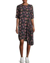 Public School Rima Crewneck Half-sleeve Floral-print Dress - Black