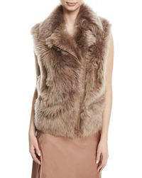 Brunello Cucinelli - Zip-front Shearling Fur Moto Vest - Lyst
