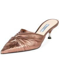 Prada - Low-heel Metallic Leather Twist Mule - Lyst