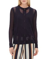 Lafayette 148 New York - Crewneck Long-sleeve Sheer Striped Voile Cardigan - Lyst