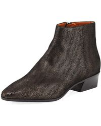 Aquatalia - Fire Metallic Pebbled Ankle Boot - Lyst