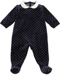 Petit Bateau - Velour Sparkle Polka-dot Footie Pajamas - Lyst