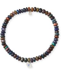 Sydney Evan | 14k Ethiopian Opal Beaded Stretch Bracelet W/ Evil Eye | Lyst