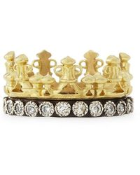 Armenta 18k Gold & Midnight Diamond Crown Ring - Metallic