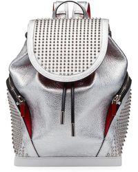 Christian Louboutin Men's Explorafunk Space Studded Leather Backpack - Metallic