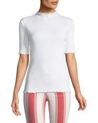 FRAME - Funnel-neck Lettuce-edge Short-sleeve Cotton Top - Lyst