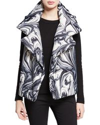 Norma Kamali Sleeping Bag Printed Open-front Puffer Vest - Black