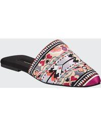 Natori Fusion Printed Satin Mule Slippers - Multicolour